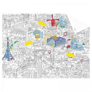 Plakat-kolorowanka mapa Paryża OMY