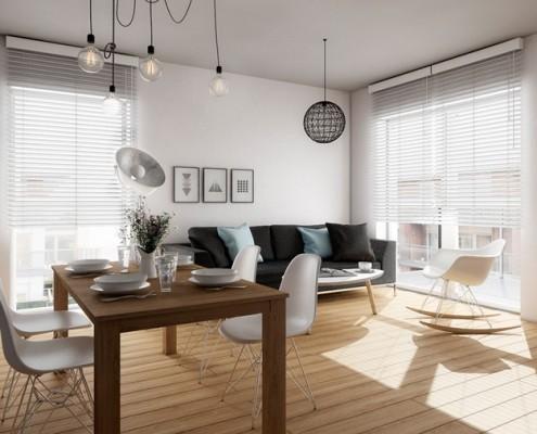 Projekt minimalistycznego salonu z betonem dekoracyjnym USZOK
