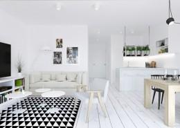 Salon z małą kuchnią w bieli USZOK