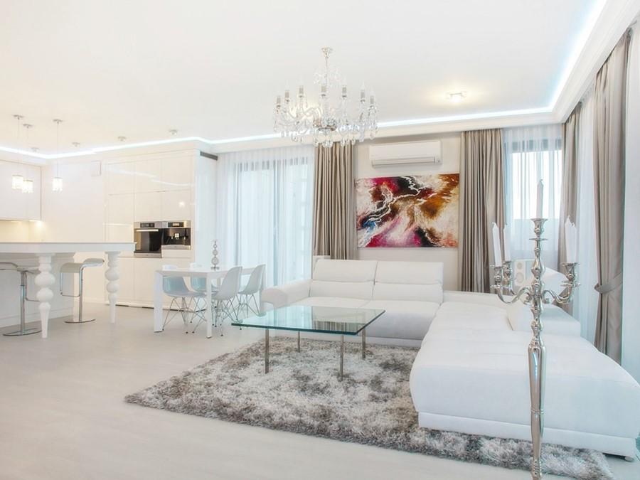 Styl modern classic w salonie z kuchnią - projektowanie pod klucz