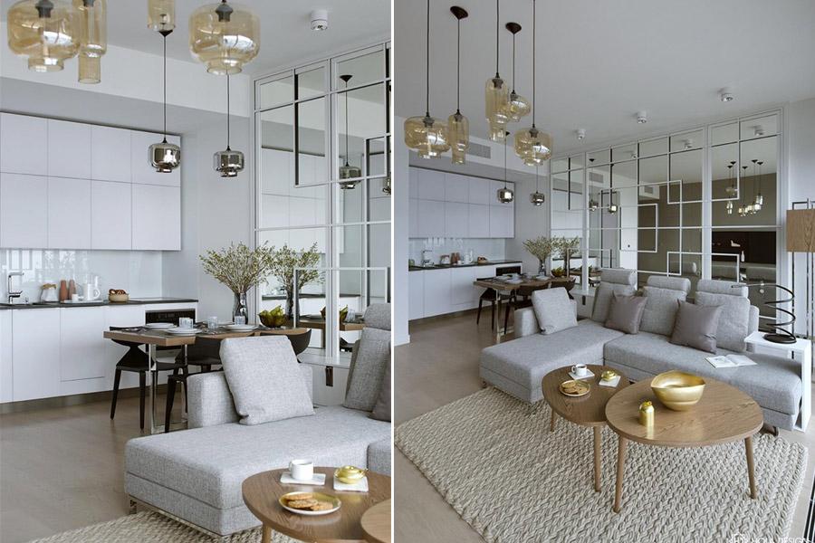 Stylowa aranżacja salonu z kuchnią Hola Design