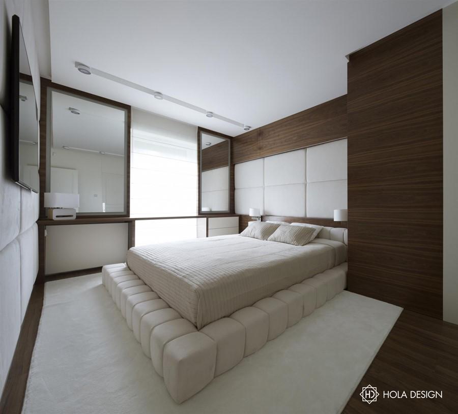 Tapicerowane ściany w aranżacji sypialni - biuro projektowe