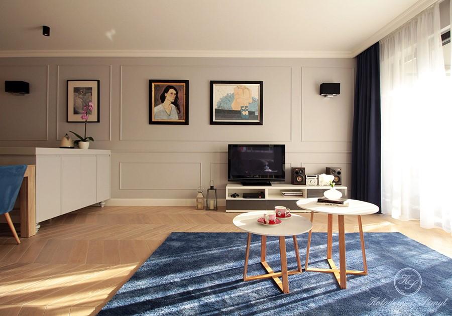 Eklektyczna koncepcja otwartego wnętrza - dywan w salonie