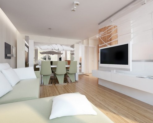 Jasny salon z jadalnią i kuchnią Concept Architektura WNętrz