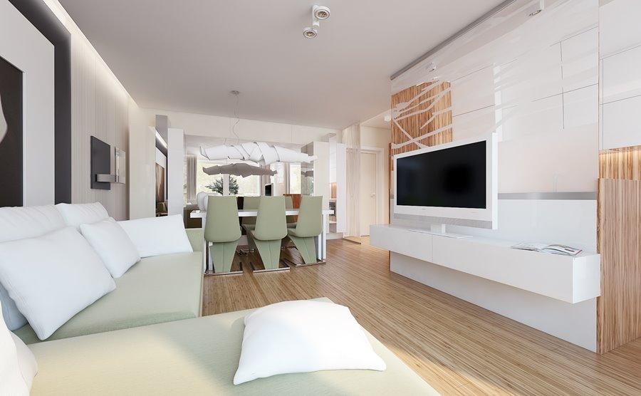 Jasny salon z jadalnią i kuchnią  Architektura, wnętrza, technologia, design   -> Salon Z Kuchnią I Jadalnią Aranżacje