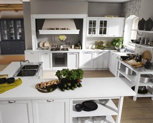 Klasyczne meble kuchenne w bieli Smeg