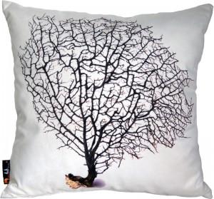 Koralowe dodatki - Poduszka dekoracyjna MeroWings Black Coral on Cream Square Cushion
