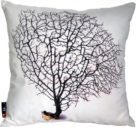 Poduszka dekoracyjna MeroWings Black Coral on Cream Square Cushion