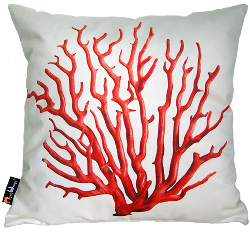 Poduszka dekoracyjna MeroWings Red Coral on Cream Square Cushion