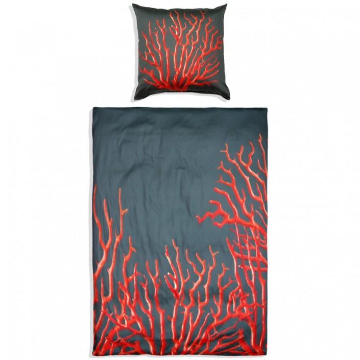 Komplet pościeli MeroWings Red Coral on Grey