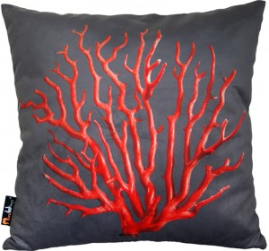 Poduszka dekoracyjna MeroWings Red Coral on grey Square Cushion