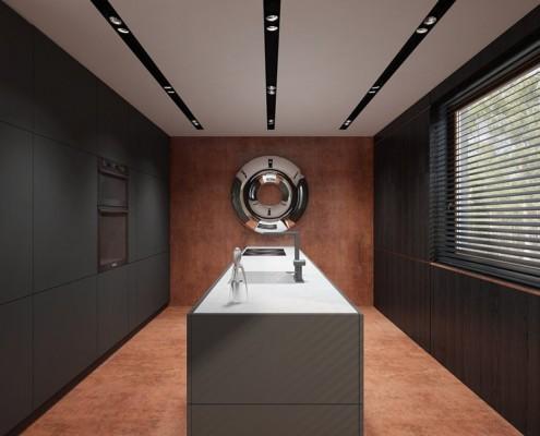 Miedź i czerń w minimalistycznej kuchni z jadalnią Concept