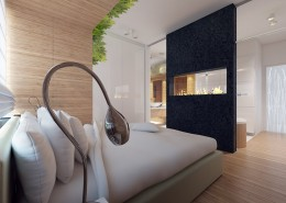 Nowoczesny biokominek w sypialni Concept Architektura Wnętrz