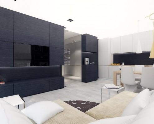 Pokój dzienny z aneksem kuchennym Concept Architektura Wnętrz