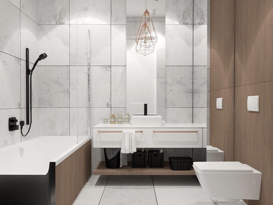 Projekt łazienki z miedzianymi akcentami Living Box - oryginalna łazienka