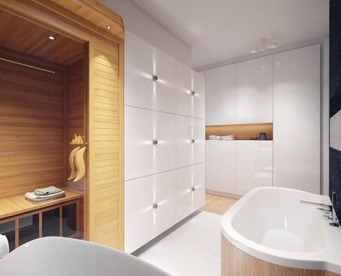 Projekt białej łazienki z sauną Concept Architektura Wnętrz