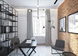 Projekt eklektycznego gabinetu w domu Living Box