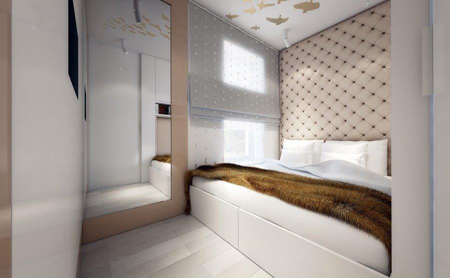 Projekt małej sypialni w jasnych kolorach - Architektura, wnętrza, technologia, design - HomeSquare