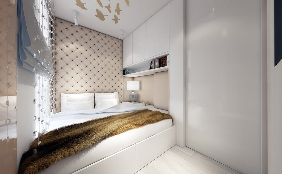 projekt ma�ej sypialni w jasnych kolorach inspiracja