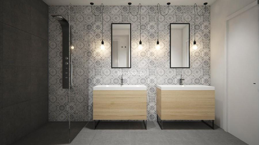 Projekt nowoczesnej łazienki z natryskiem Living Box