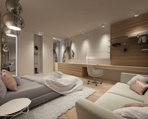 Beżowy pokój dla nastolatki Concept
