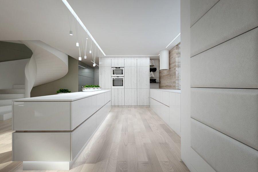 Biała kuchnia otwarta na hol Concept