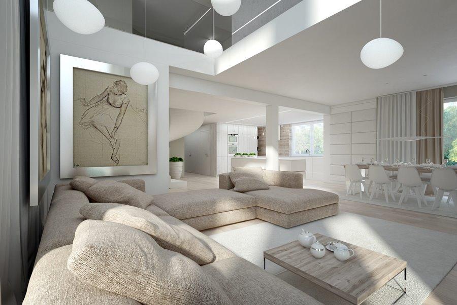 Biel i beże w salonie z antresolą Concept - kuchnia z salonem