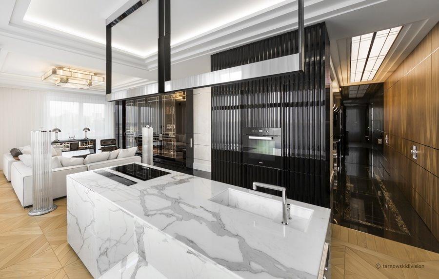 Kuchnia z kamienn wysp otwarta na salon architektura for Kuchnia polaczona z salonem