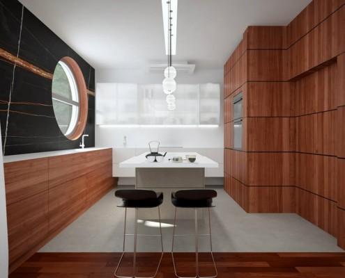Mahoń w kuchni otwartej na jadalnię Concept