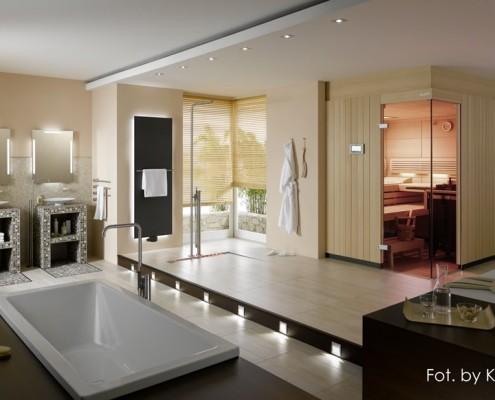 Narożna sauna w pokoju kąpielowym Klafs - oryginalna łazienka