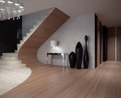 Nowoczesny hol wykończony drewnianymi panelami Concept