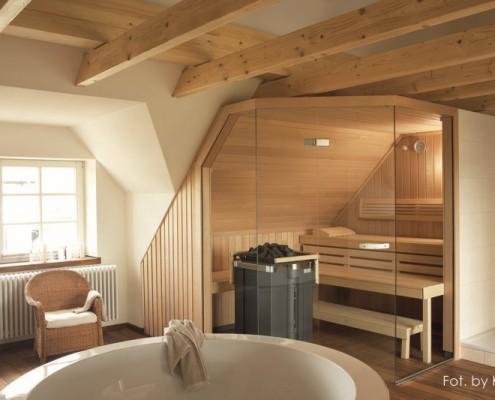 Pokój kąpielowy z sauną na poddaszu Klafs