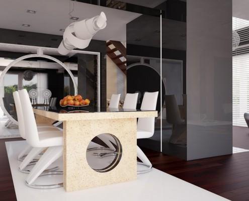 Pokój kominkowy połączony z jadalnią Concept