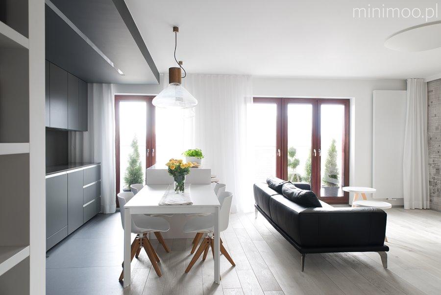 Pracownia i kuchnia w nowoczesnym salonie  Architektura   -> Kuchnie W Salonie