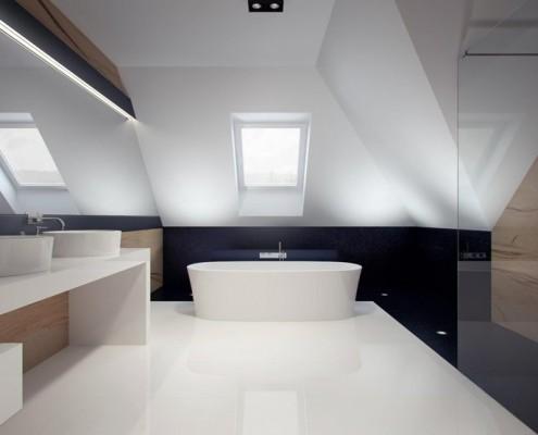 Projekt dużej łazienki na poddaszu Concept