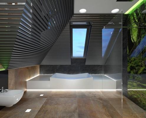 Projekt nowoczesnej łazienki ze skosami