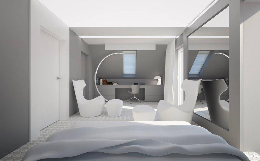 Projekt sypialni w bieli i szarości - Architektura, wnętrza, technologia, design - HomeSquare