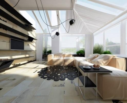 Przeszklony pokój wypoczynkowy na poddaszu Concept
