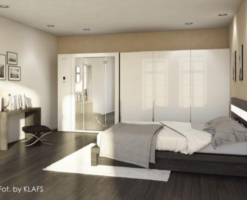 Rozsuwana sauna w sypialni Klafs