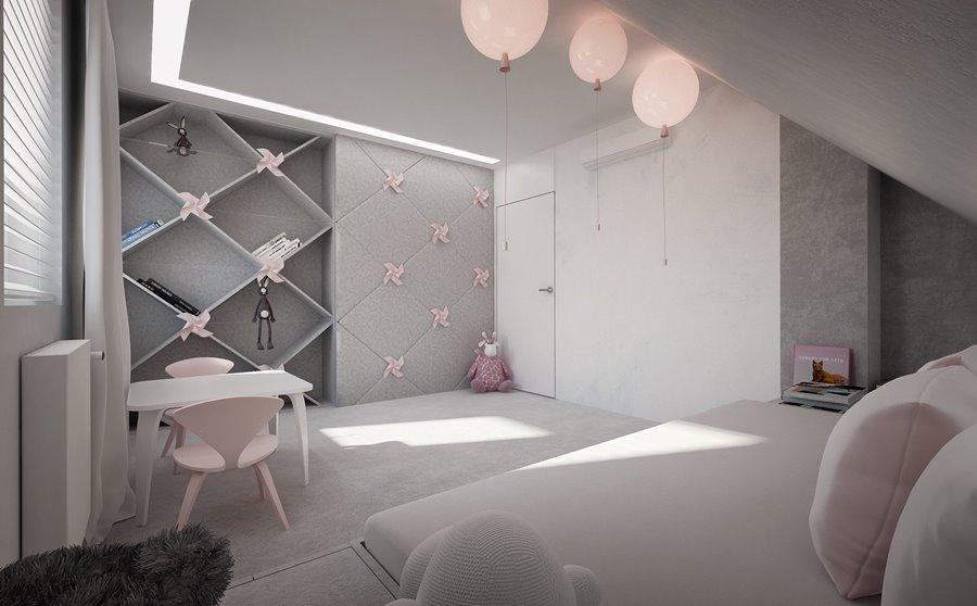 Szary pokój dla dziewczynki Concept - pokoje dla dzieci