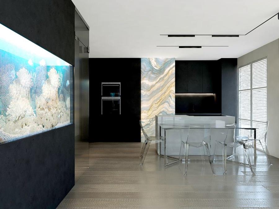 akcent morski w nowoczesnym apartamencie: akwarium z rafą koralową
