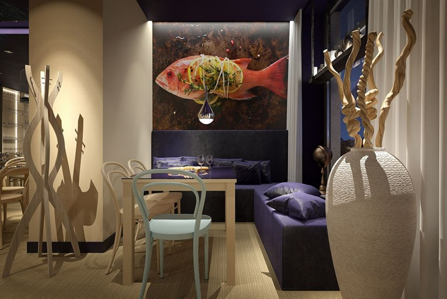akcenty morskie w nowoczesnej restauracji