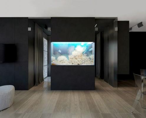 akcent morski w centrum nowoczesnego wnętrza