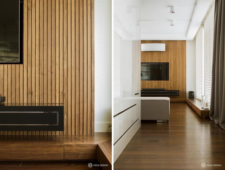 drewniana boazeria może być doskonałym tłem dla ściany TV