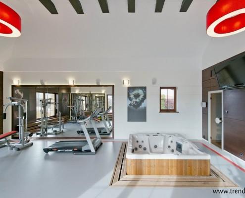 Aranżacja siłowni ze strefą wellness App trendy