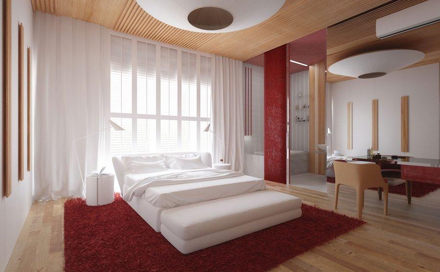 Czerwień I Jasne Drewno W Sypialni Inspiracja Homesquare