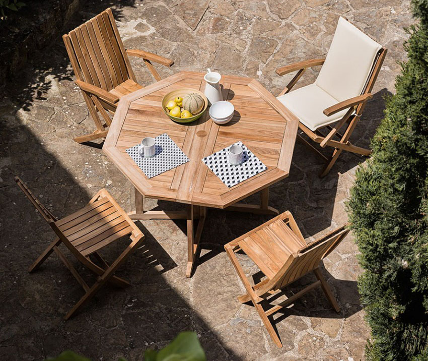 Heksagonalny stół w ogrodzie składany Telemaco Savana