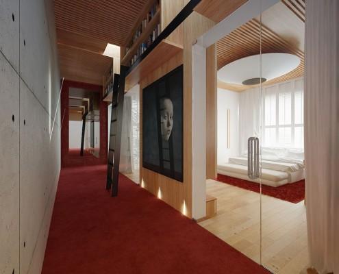 Niecodzienna biblioteka w holu Concept