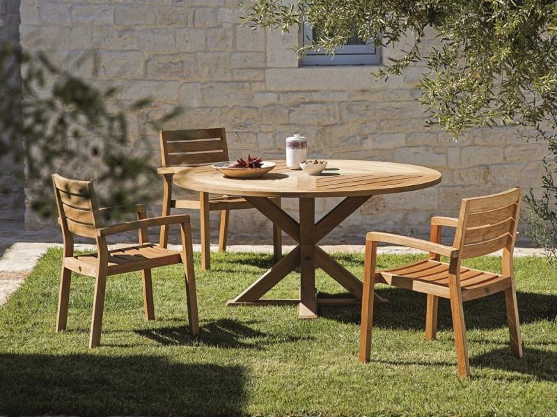Okrągły stół ogrodowy z drewna Cronos