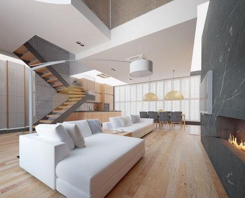 Otwarta strefa dzienna w nowoczesnym domu Concept